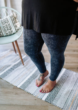Rock This Way- Mineral Wash Leggings Blue Grey