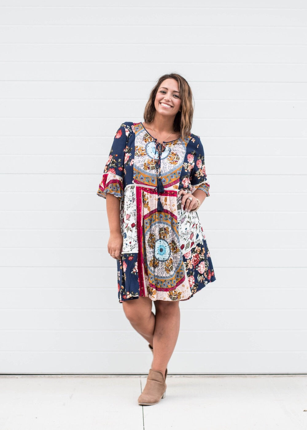 Monica - Mixed Print Babydoll Dress