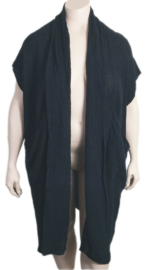 Cheyenne Long Black Linen Vest