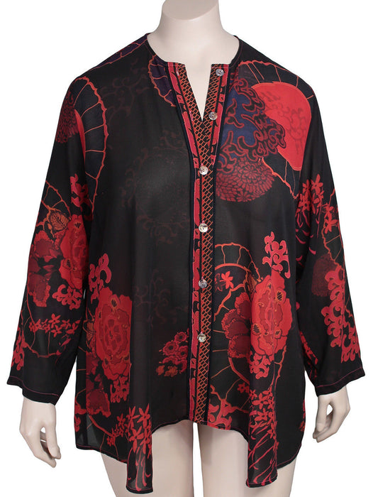 Citron Santa Monica Plus Size Silk Georgette Blouse