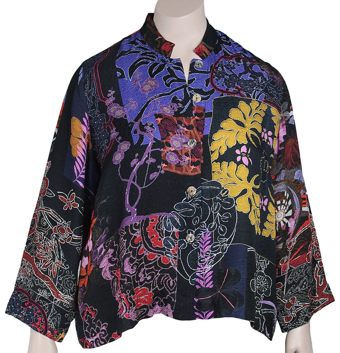 Citron Plus Size Silk Print Crop Jacket