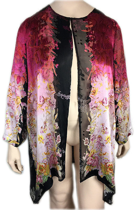 Citron Plus Size Silk Burnout Duster Jacket