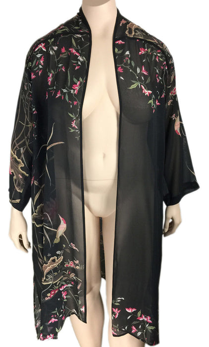 Citron Black Silk Print Duster