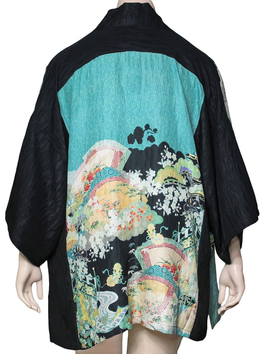 Dressori Plus Size Printed Kimono Jacket - BACK VIEW