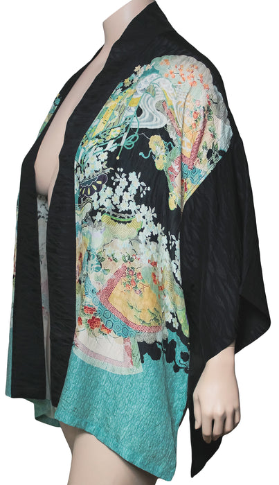 Dressori Plus Size Printed Kimono Jacket - SIDE VIEW