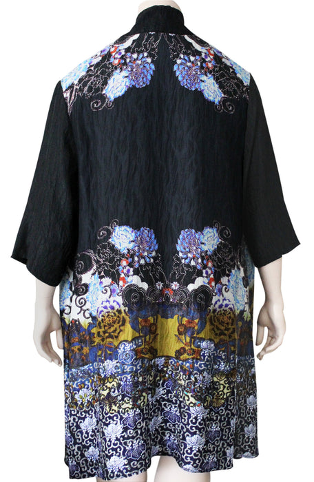 PLUS SIZE Dressori Long Black Print Duster - BACK VIEW