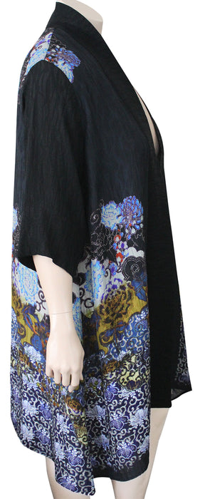 PLUS SIZE Dressori Long Black Print Duster - SIDE VIEW