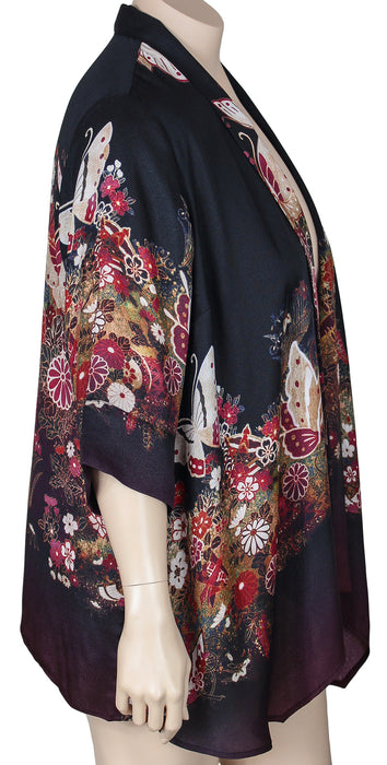 Dressori Plus Size Print Kimono Jacket - SIDE VIEW