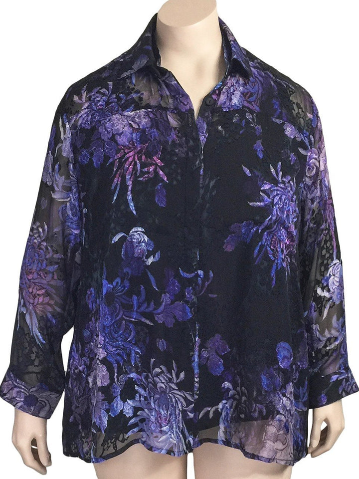 Dressori Black Silk Burnout Blouse Top