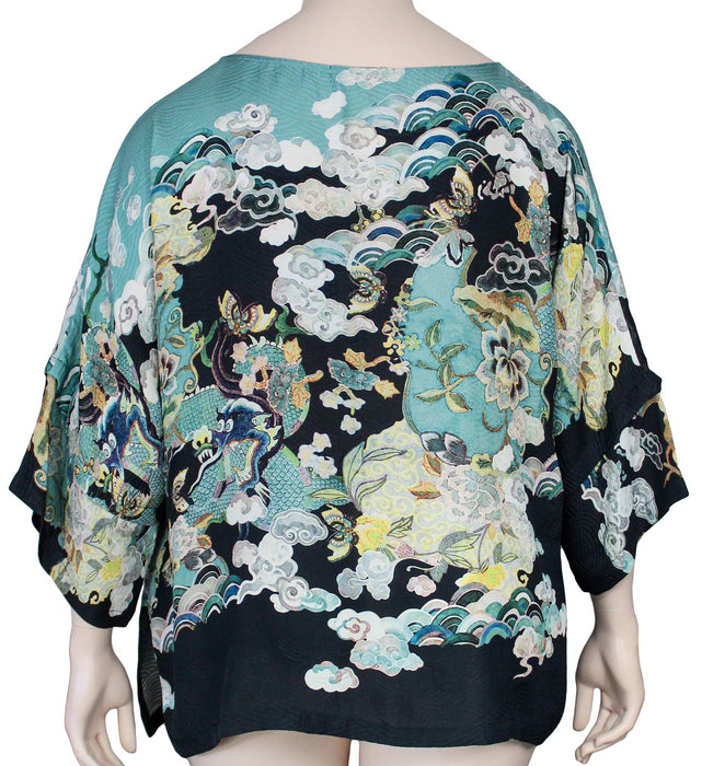 Dressori Plus Size Silk Kimono Sleeve Top - BACK VIEW