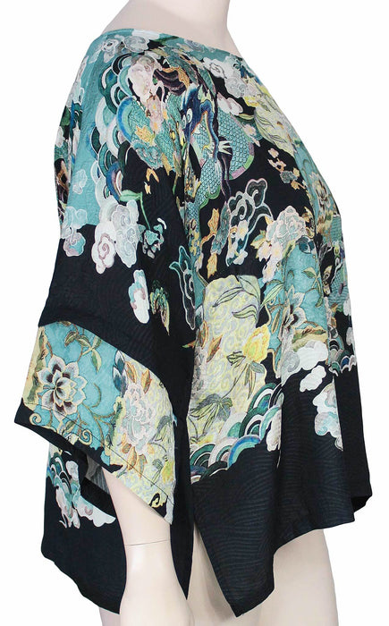 Dressori Plus Size Silk Kimono Sleeve Top - SIDE VIEW