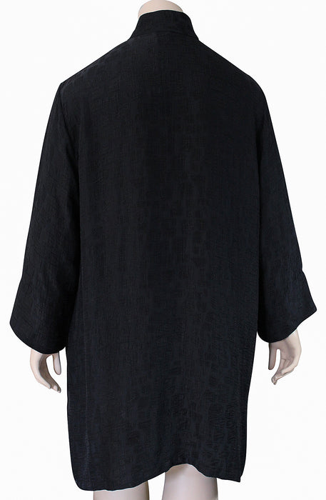Dressori Plus Size Long Black Jacket - BACK VIEW