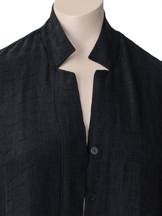 Dressori Plus Size Long Black Jacket - CLOSE UP