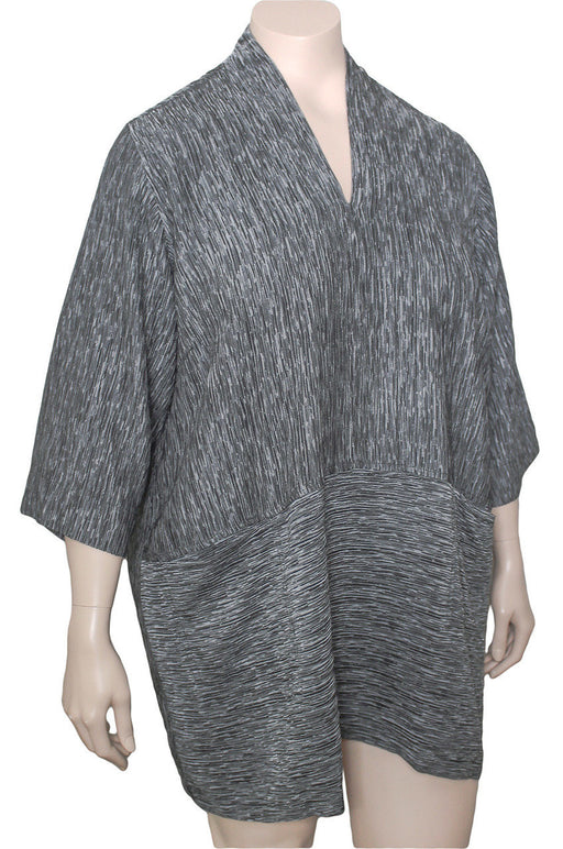Dressori Reversible Silk Crinkle V-Neck Tunic - Plus Size