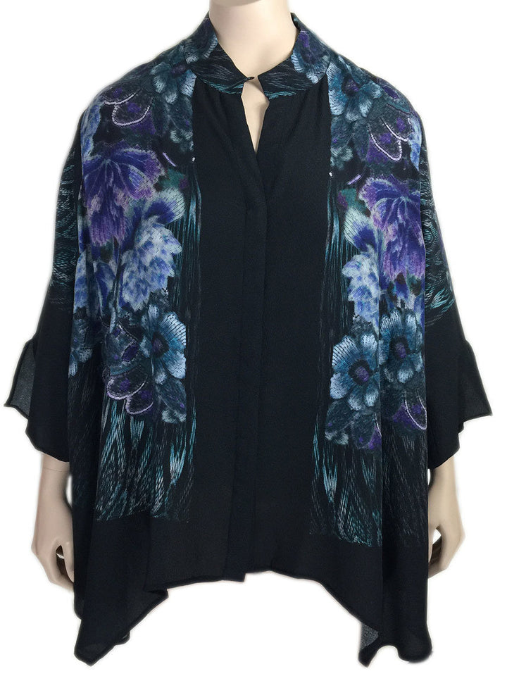 Dressori Black Silk Print Blouse