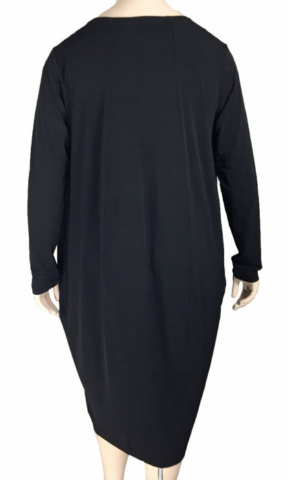 Gershon Bram Black Draped Jersey Dress