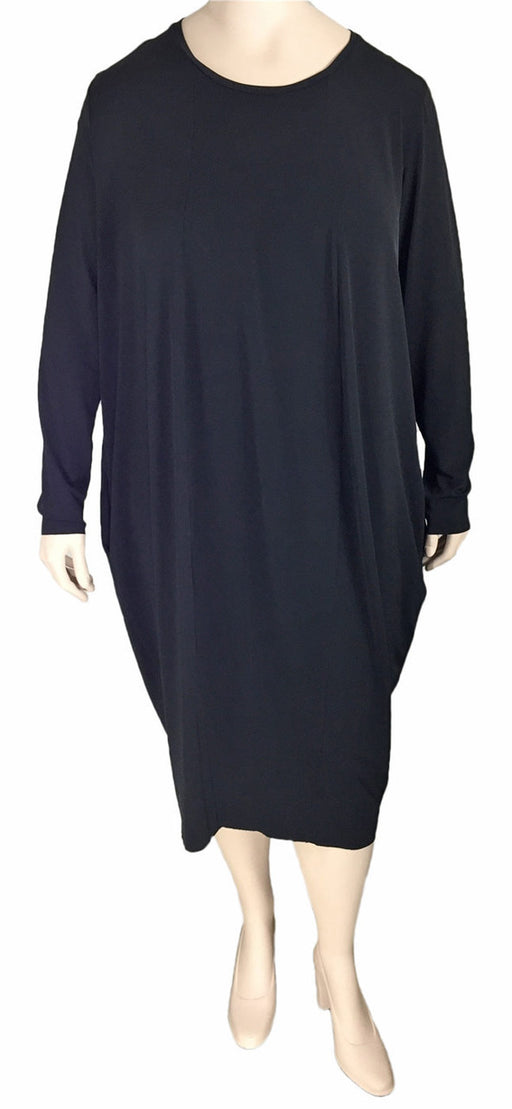Gershon Bram Plus Size Black Draped Jersey Dress