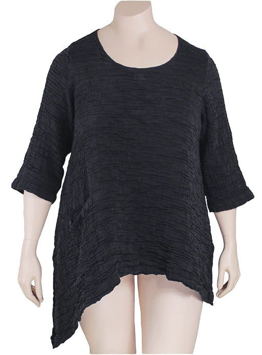 GRIZAS Asymmetric Black Crinkle Top