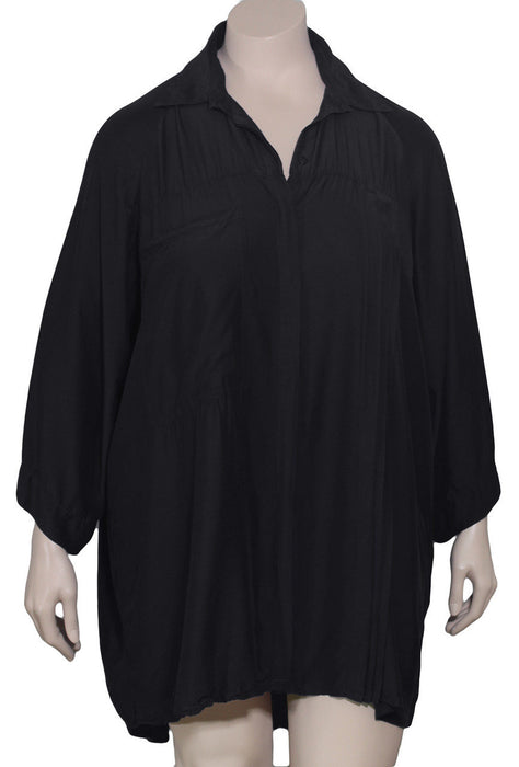 Grizas Plus Size Black Silk Blouse