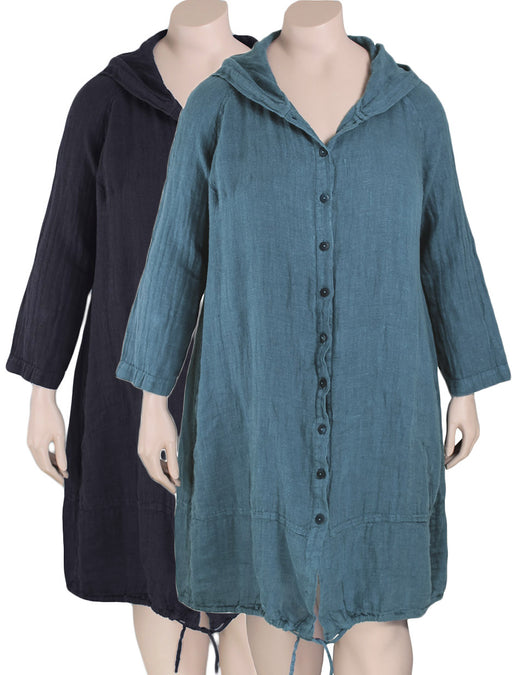 GRIZAS Plus Size Hooded Linen Jacket