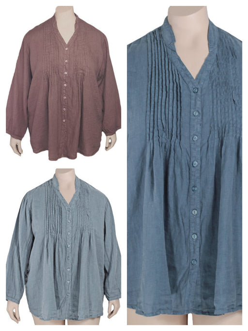 Grizas Plus Size Linen Pintuck Tunic