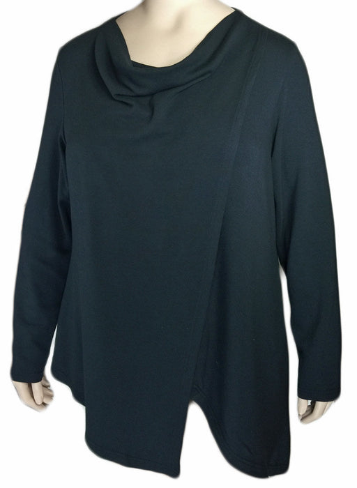 Kleen Black Drape Neck Top