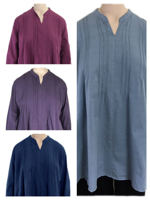 KLEEN Cotton Pintuck Tunic Top Large to 3x