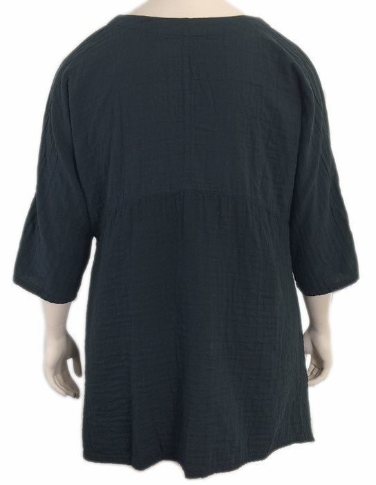 KLEEN Black Cotton Empire Waist Tunic Top