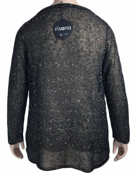 Risona Black Knit Evening Overlay Sweater