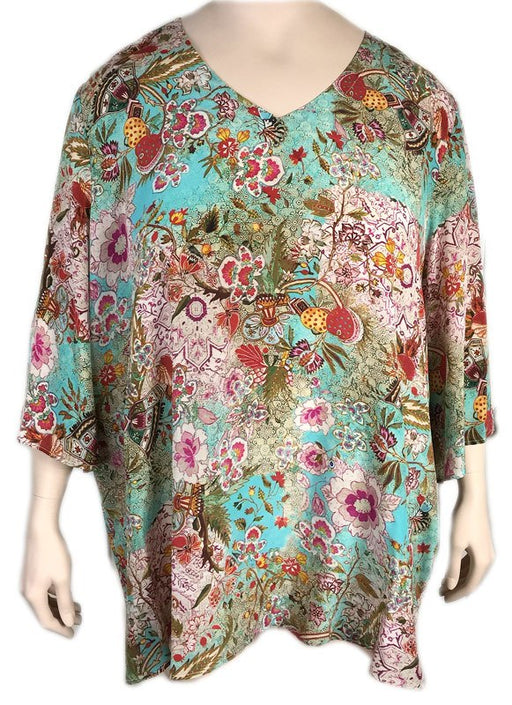 TIANELLO Plus Size Silk Print Tunic