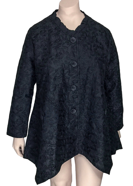 Transparente Black Embroidered Silk Jacket