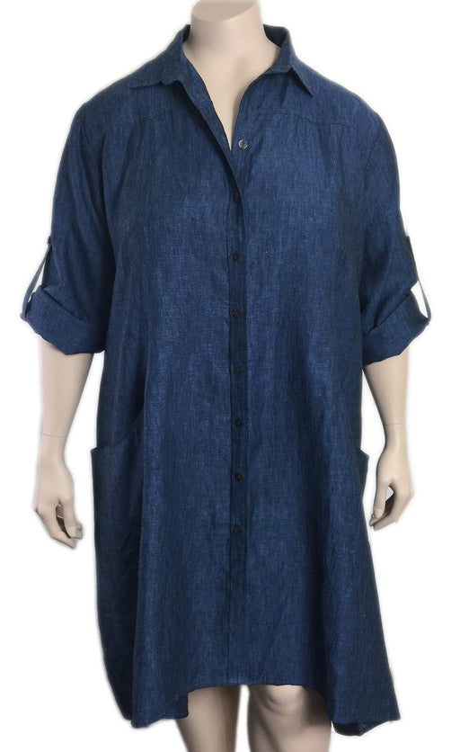 BBianco Levrin Plus Size Linen Shirtdress