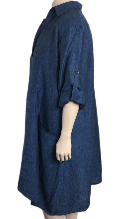Bianco Levrin Italy Linen Shirtdress / Duster