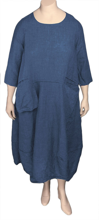 Cheyenne Linen Dress - Front / Blue