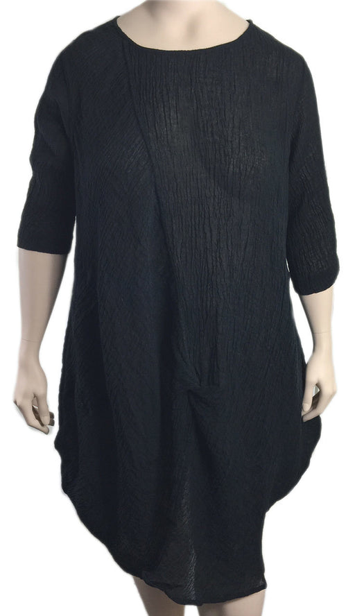 Cheyenne Black Linen Gauze Dress