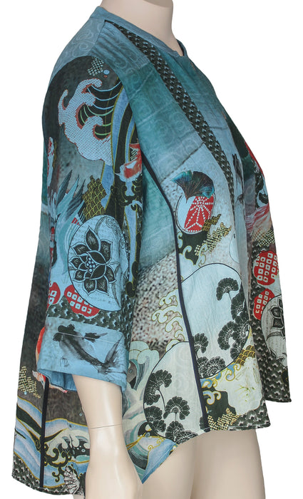 Citron Plus Size Silk Cotton Koi Print Blouse - SIDE VIEW