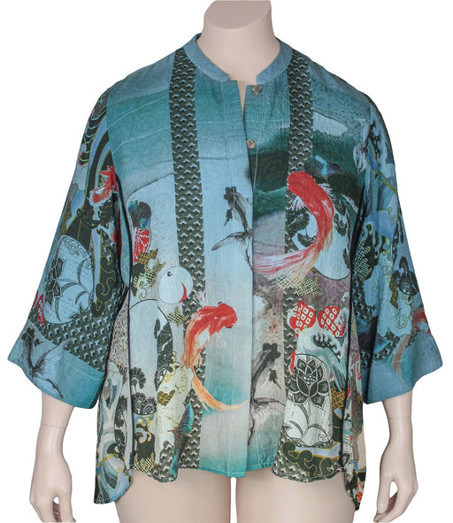 Citron Plus Size Silk Cotton Koi Print Blouse