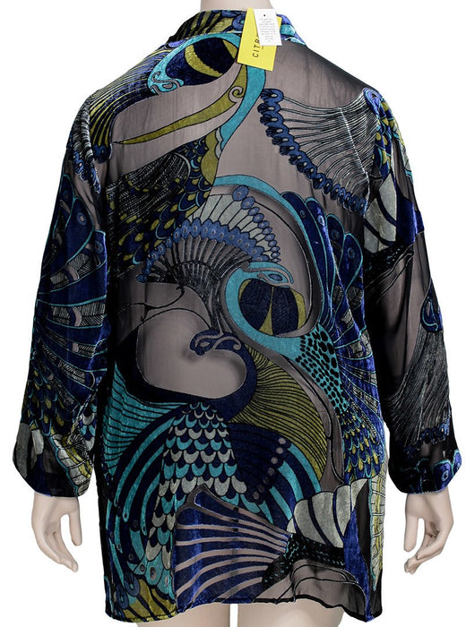 Citron Peacock Velvet Burnout Blouse