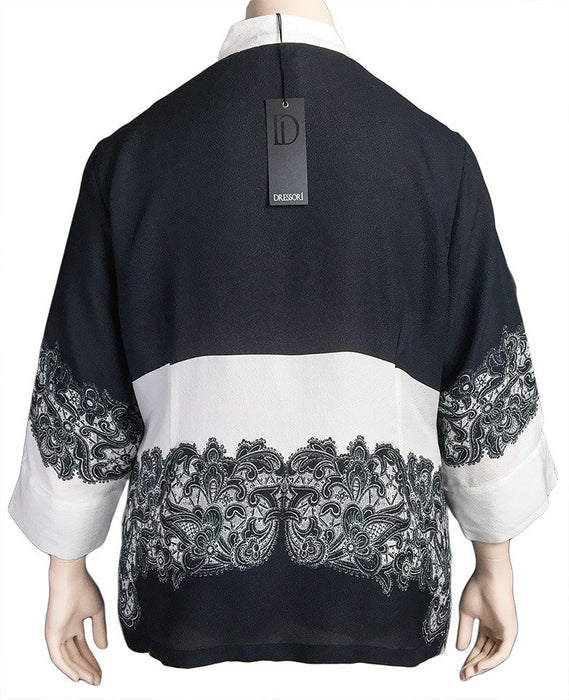 Dressori Black and White Silk Print Blouse