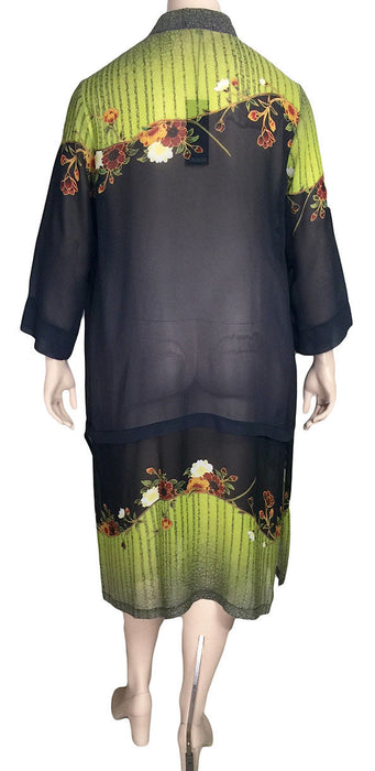 Dressori Long Silk Mandarin Collar Duster