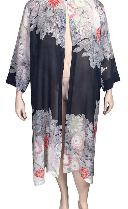 Dressori Long Silk Mandarin Duster