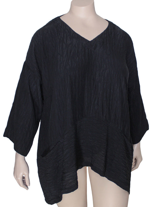 Dressori Black Silk V-Neck Tunic