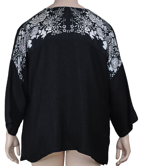 Dressori Silk Jewel Neck Blouse Plus Size - BACK VIEW