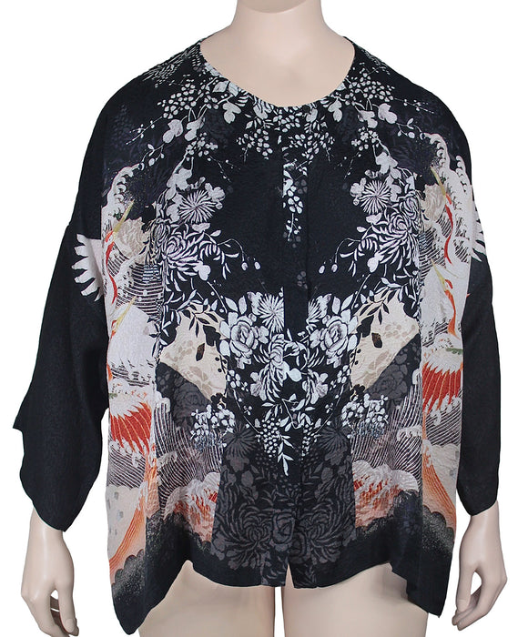 Dressori Silk Jewel Neck Blouse Plus Size
