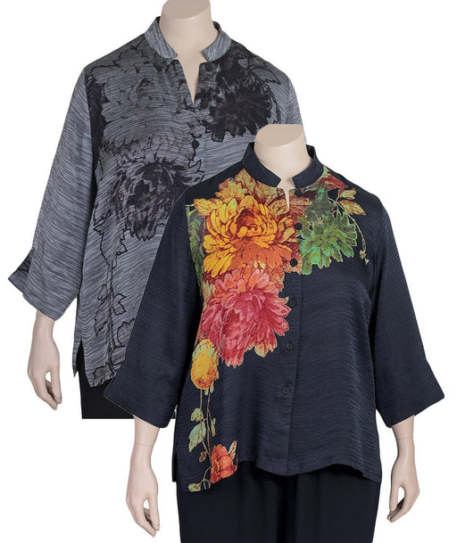 Dressori Rippled Silk Print Blouse