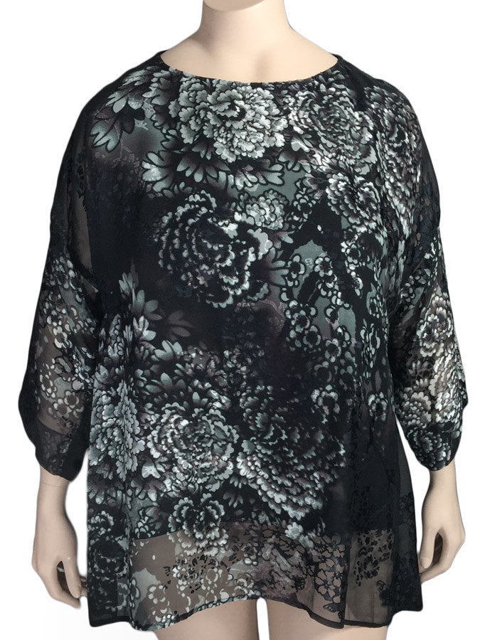 Dressori Black Silk Burnout Blouse