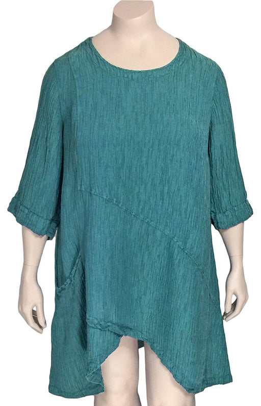 Grizas Silk Linen Arched Hem Tunic