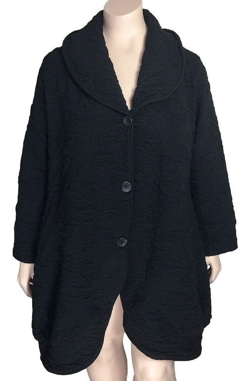 Kekoo Black Embossed Coat / Jacket