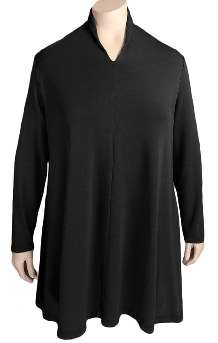 Kleen Black Long High Neck Swing Top
