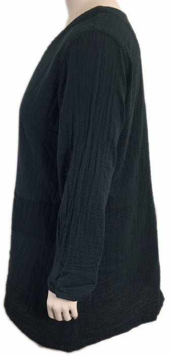 KLEEN Long Black Double Layered Cotton V-Neck Tunic